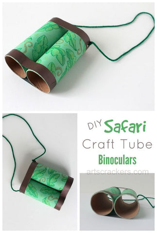 jungle safari birthday party gift box party ideas DIY toilet paper roll binoculars