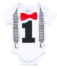boys 1st birthday outfit black and red chevron bow tie suspenders