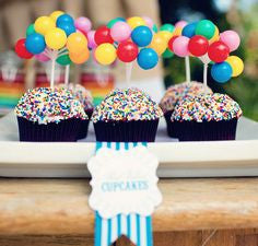 circus party cupcakes with sprinkles and balloons carnival theme party baby boy