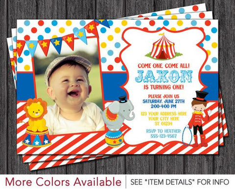 circus party invitations red white animals
