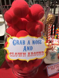 clown noses circus carnival theme party first birthday
