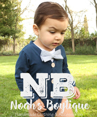 noah's boytique cardigan bow tie onesie baby boy clothes