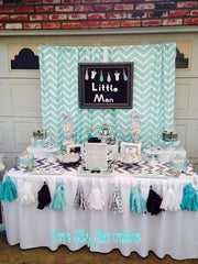 Grey and Aqua First Birthday Party Ideas and Outfit Inspiration
