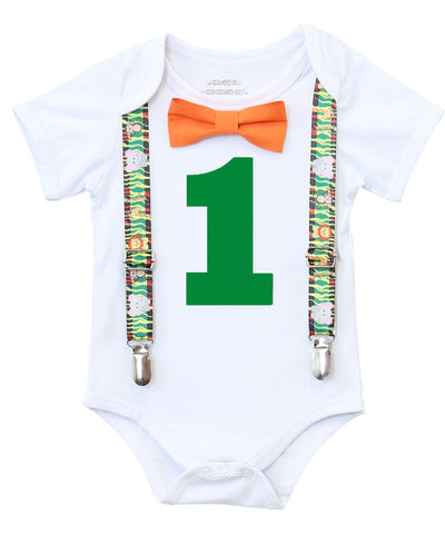 jungle first birthday outfit shirt onesie for baby boy