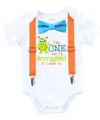 mini monster first birthday outfit shirt baby boy orange blue lime