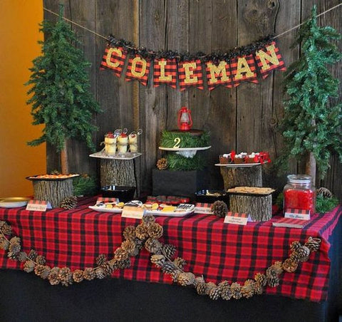 lumberjack first birthday party dessert table ideas