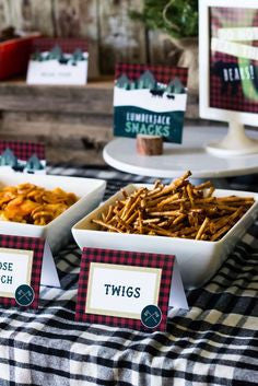 lumberjack party snack ideas pretzels as twigs