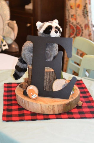 lumberkack first birthday party centerpiece ideas stuffed animals wood