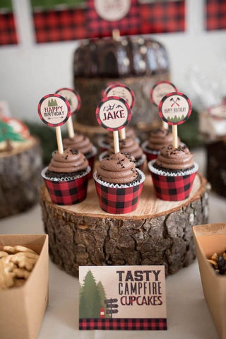 lumberjack first birthday party cupcakes buffalo plaid