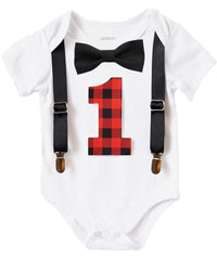 lumberjack first birthday shirt buffalo plaid black and red