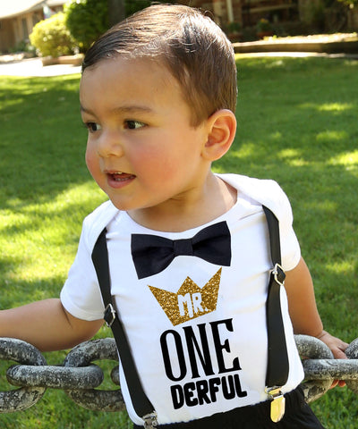 mr onederful first birthday outfit baby boy black and gold cake smash