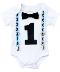 mustache first birthday outfit shirt blue and black