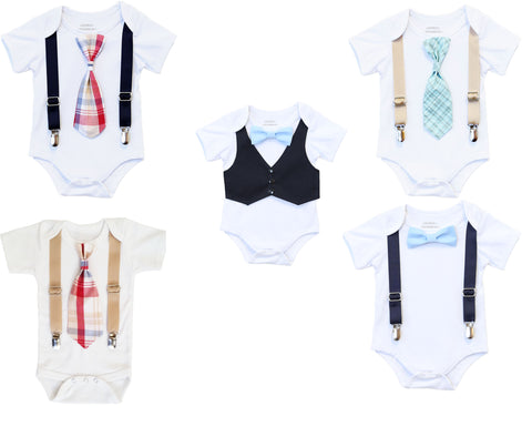 baby boy outfits clothes bow tie onesie noah's boytique snap on interchangeable ties bow ties