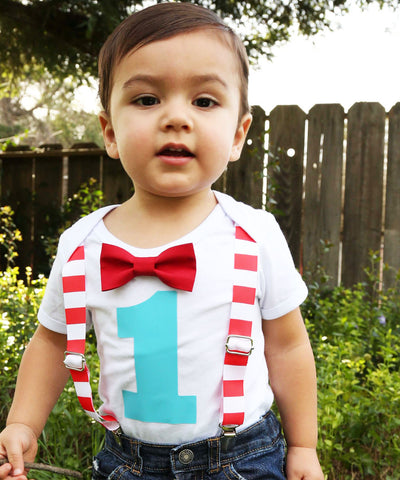 circus first birthday party outfit red white aqua stripes big top carnival shirt