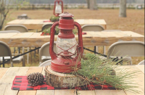 rustic lumberjack party centerpiece table decoration lantern