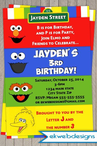 Sesame Street First Birthday Party Invitations