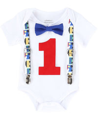 train first birthday party outfit boy