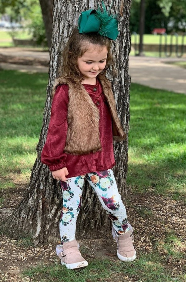 girls burgundy satin shirt floral leggings fur vest set matching sisters girls babywinter clothes outfits