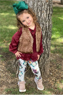 girls burgundy satin shirt floral leggings fur vest set matching sisters