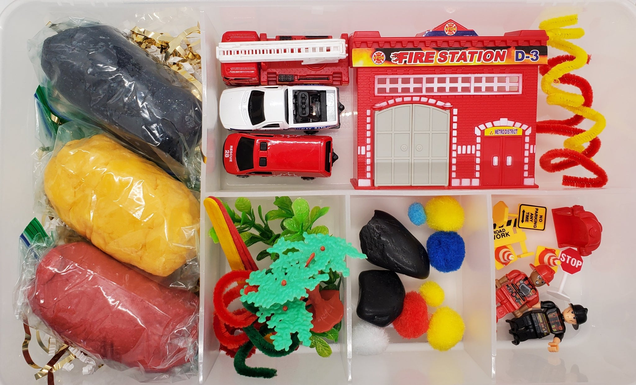 Fire Truck and Police Play Dough Sensory Bin Kit Playdough Box Gift for Boys