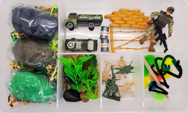 army play dough sensory bin kit plastic container cool gifts for boys military play doh kit busy box