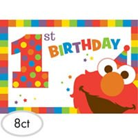 1st Birthday Elmo Sesame Street Party Supplies Invitations 8 count Elmo Fun to be One!