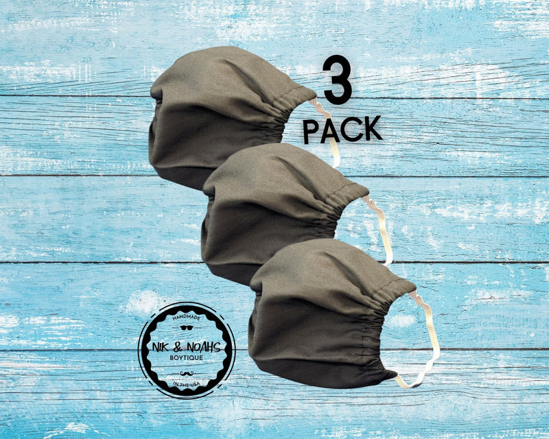 Black Cotton Face Masks Double Layer with Filter Pocket 3 Pack 5 Pack Comfy Elastic Washable Reusable Customize