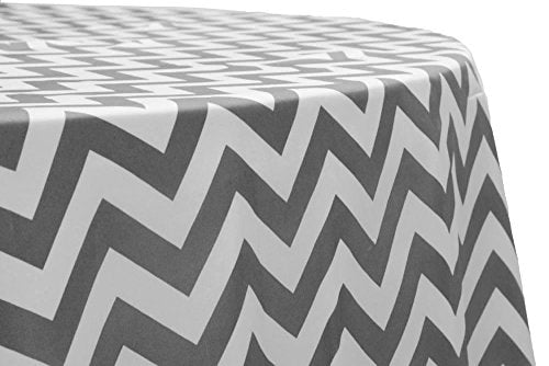 "AK-Trading 72"" x 72"" Inches L'Amour Satin Zig Zag Chevron Tablecloth Table Cover - MADE IN USA (Gray)"