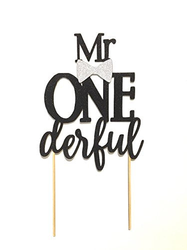 1 pc Mr ONE derful onederful Black Glitter Cake Topper bow tie first Birthday boy Baby shower cake smash party