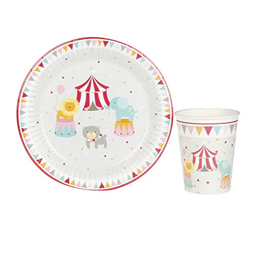 Circus Birthday Party Tableware Set,RiscaWin Party Set Supplies for 8, Paper Plates,Paper Cups,Paper Straws,Napkins,Wooden Forks,Wooden Knives,Wooden Spoon– Complete Party Pack(Circus)