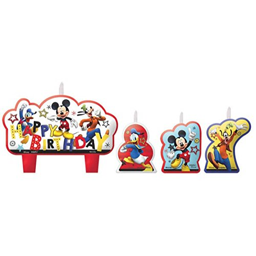 Another Dream Disney Mickey Mouse On the Go Birthday Party Pack for 16 with Plates, Napkins, Cups, Tablecover, and Candles