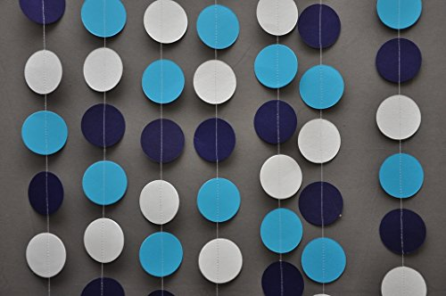 Wedding paper garland - Circle garland - Blue, grey, turquoise garland - Paper garland - Wedding decor - Bridal shower decorations - Nursery