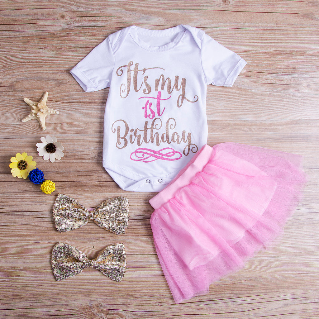 4PCS Short Sleeve Romper Tops+Tutu Skirts It's My Birthday Newborn Kids Baby Girls Outfits Clothes Sequin Bow Tie Headband Set