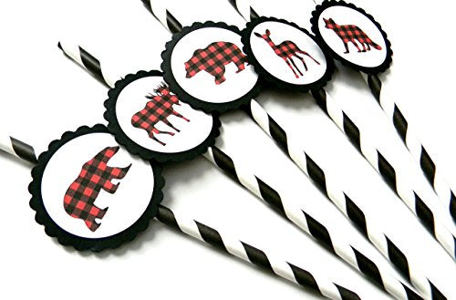 Animal Lumberjack Party Straws - Set of 12