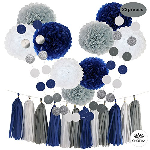 CHOTIKA 23pcs Tissue Paper Flowers Pom Poms Party Girl Decorations Tassel Garland for Wedding Bridal Shower graduation bachelorette celebrate first birthday graduate supplies (Navy Blue, White, Grey)