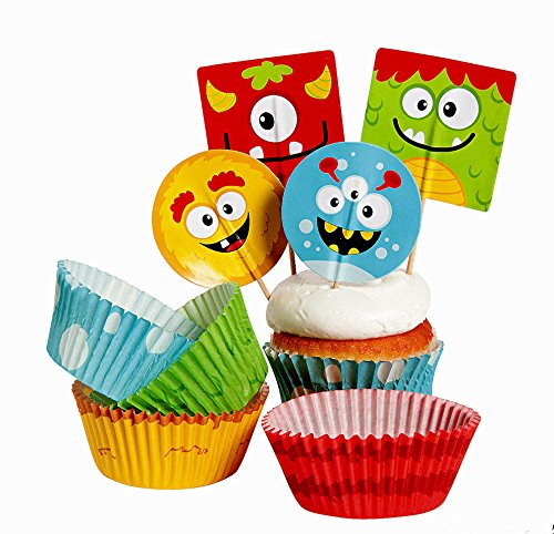 Silly Monsters Kid's Birthday Party Decorations Tableware Bundle (1 Tablecover, 50 Cupcake Picks & Baking Cups, 16 Napkins, 8 Plates & Bonus Bag) by Multiple