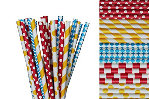 Circus Paper Straw Mix - Yellow, Blue, Red, Polka Dot, Striped, Diamonds (50)
