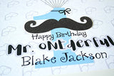 Mr. ONEderful 1st Birthday Party Boy Decor, Mustache Boy First Birthday Party Guest Book Alternative