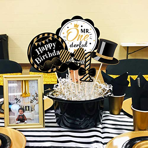 24Pack Mr Onederful Centerpiece Sticks Table Toppers Little Man First Birthday Party Decorations, Black and Gold Party Favor Table Decoration Mustache Party Decor
