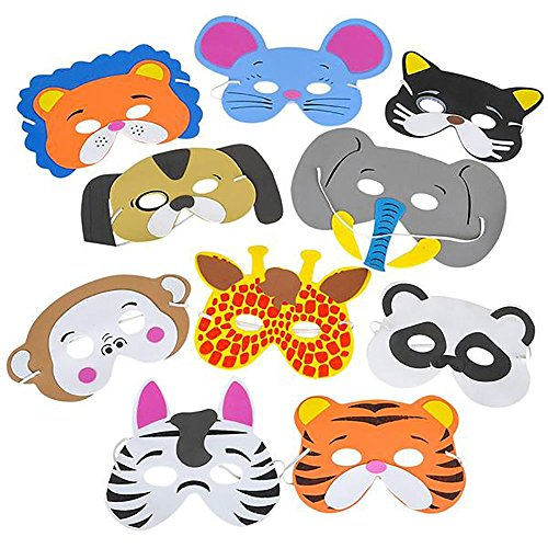 Rhode Island Novelty 12 Assorted Foam Animal Masks for Birthday Party Favors Dress-Up Costume