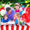 Blulu 2 Packs Red and White Striped Table Cover Tablecloths, with 20 Pieces Balloons and 10m White Ribbon