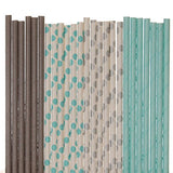 Aqua Blue and Grey Paper Straw Mix - Polka Dot, Solid, Robins Egg Blue (25)