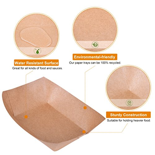 "URPARTY - 50 pcs Classic Brown Disposable Paper Food Serving Tray 7"" x 5"" x 1.5"" - 2.5 lb capacity"