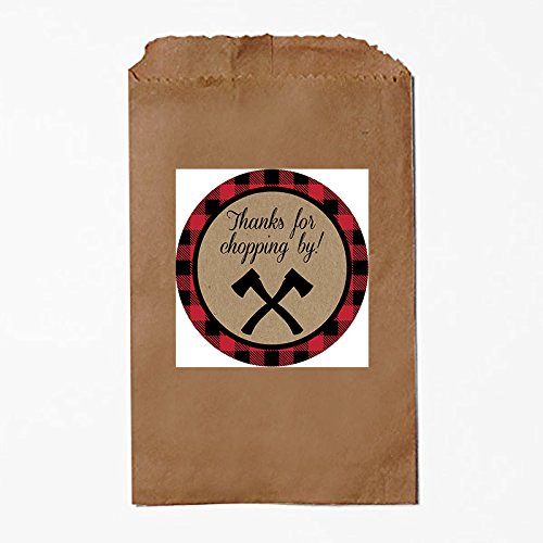 Lumberjack Camping Outdoor Themed Party Favor Bags - Thanks for Chopping By!