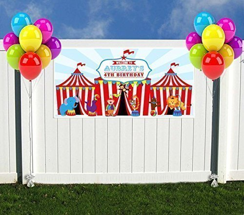 Circus Carnival Big Top Birthday Banner Personalized Party Decoration Backdrop