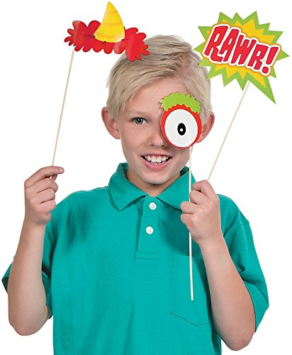 "Fun Monster Photo Stick Props (12 Pack) 1 1/2-8 1/2"" X 2"" - 4 1/4. Paper."