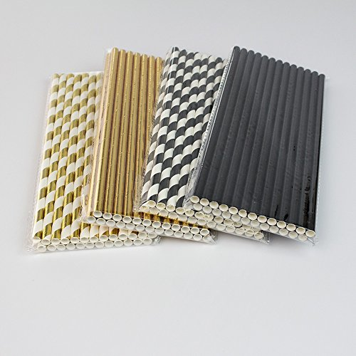 Biodegradable Stripe Straws Gold and Black Paper Drinking Straws for Party 100 Pcs 7.75 Inches for Adult and Kids by Youmewell