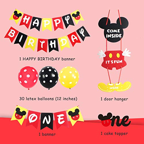 Mickey Themed 1st Birthday Party Supplies - Mickey and Minnie Party Decorations Welcome Sign Door Hanger Black Red Yellow for First Birthday
