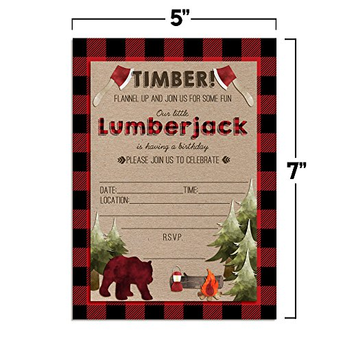 "Lumberjack Birthday Party Celebration Invitations for Boys, Ten 5""x7"" Fill In Cards with 10 White Envelopes by AmandaCreation"