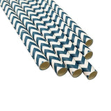 MY PAPER Decorative Paper Straws Gold Pink Blue Grey Red Black Yellow Teal Mint Chevron Pattern 7.75 Inch 25 PCS For Christmas Party (Navy Blue)